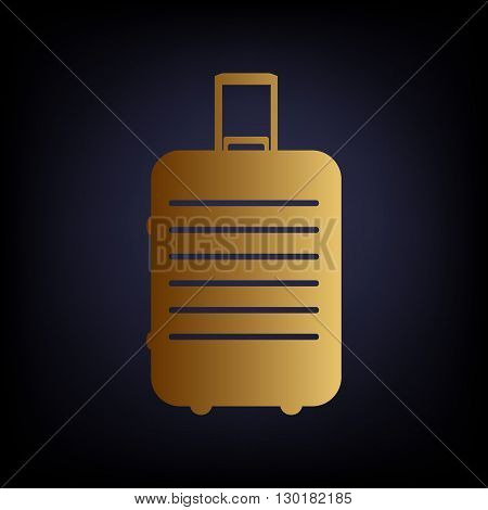 Baggage sign. Golden style icon on dark blue background.