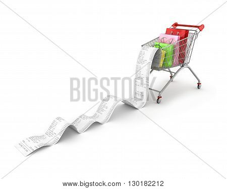 Shopping Trolley With shopping bags and long Receipts Over White Background. 3d illustration