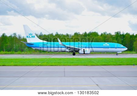 SAINT PETERSBURG RUSSIA-MAY 112016. KLM Royal Dutch Airlines Boeing 737 Next Gen airplane-registration number PH-BXT. Airplane rides on the runway after arrival at Pulkovo International airport