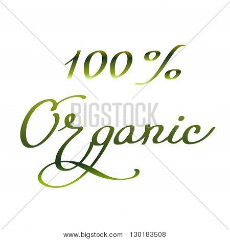 Hand drawn inspirational sign - hundred percent organic. Healthy lifestyle symbol. Pen and ink calligraphy. Brush painted green letters on white background isolated. Calligraphy card illustration