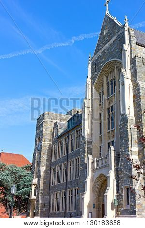 Georgetown University White-Gravenor building. Historic architecture of Washington DC USA
