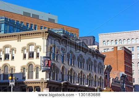 WASHINGTON DC, USA - APRIL 29: International Spy Museum in Washington DC on April 29, 2015. The museum has the largest collection of international espionage artifacts and attracts a lot of tourists and locals since it's opening on July 19 2002.