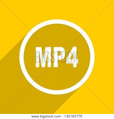 yellow flat design mp4 web modern icon for mobile app and internet