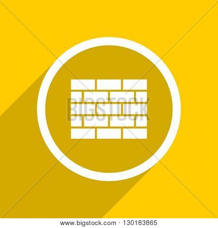 yellow flat design firewall web modern icon for mobile app and internet