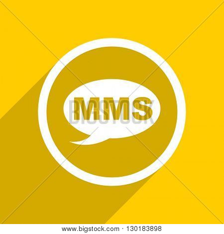 yellow flat design mms web modern icon for mobile app and internet