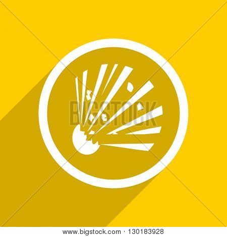 yellow flat design bomb web modern icon for mobile app and internet