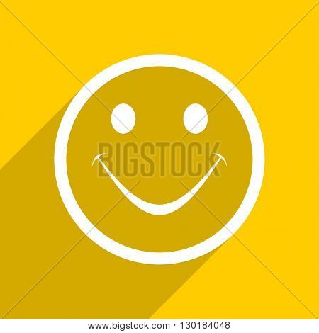 yellow flat design smile web modern icon for mobile app and internet