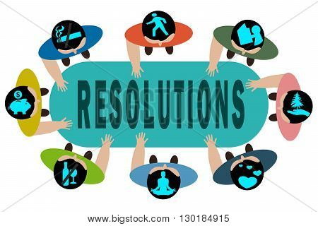 New Year's Resolution concept illustration isolated on white background.