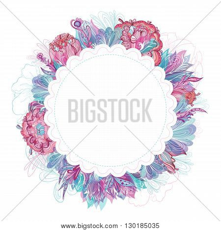 Creative card template with wreath for invitation, greeting design with sketch detailed flowers in teal, turquoise, pink and blue colors