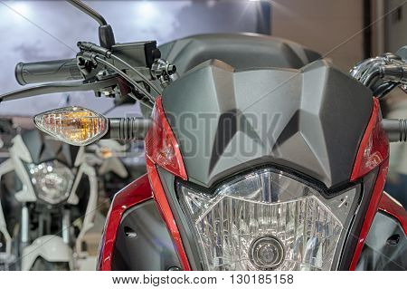 Close Up Of Front Light Of Motorcycle