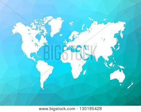 Map of World on low poly background. World map on background made of triangles. White vector illustration on blue polygonal shape background.