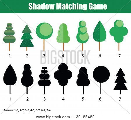 Shadow matching game for kids. Find the right shadow task. Children educational game with answer
