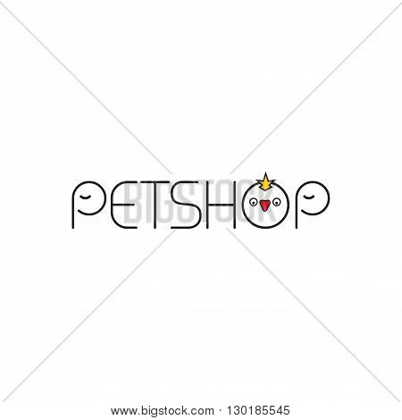 Pet shop vector logo template, abstract flat outline pets shop text with elephant and bird logotype design, pets faces isolated on white background, cartoon logotype illustration