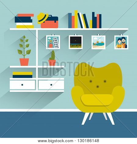 Living room with armchair and book shelves. Flat design vector illustration.