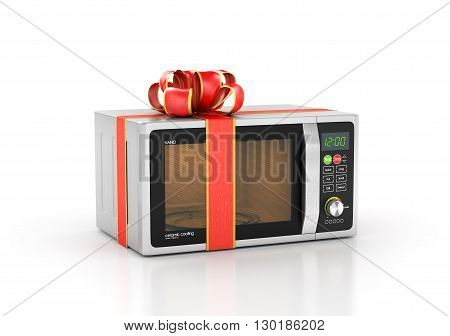 Kitchen appliances. Microwave in gift ribbon. 3d illustration