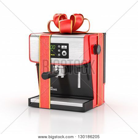 Kitchen appliances. Coffe machine in gift ribbon. 3d illustration