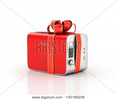 Kitchen appliances. Toaster in gift ribbon. 3d illustration