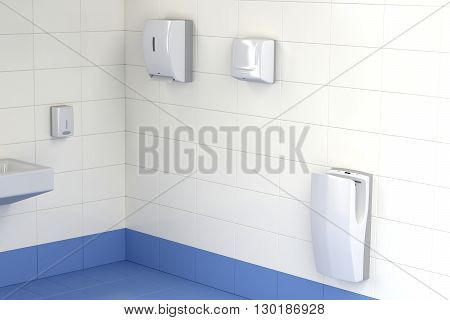 Automatic paper towel hand dryer and jet hand dryer in the public toilet, 3D illustration