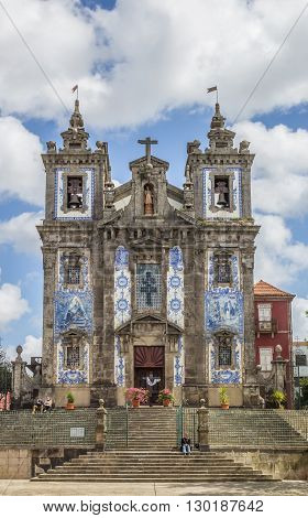 PORTO, PORTUGAL - APRIL 20, 2016: Church of Saint Ildefonso in the historical center of Porto, Portugal