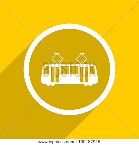 yellow flat design tram web modern icon for mobile app and internet