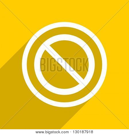 yellow flat design access denied web modern icon for mobile app and internet