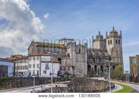 PORTO, PORTUGAL - APRIL 20, 2016: Historical cathedral in the center of Porto, Portugal