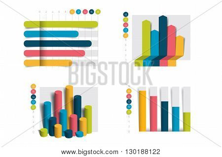 Flat chart, graph with shadows effect. Simply color editable. Infographics elements.