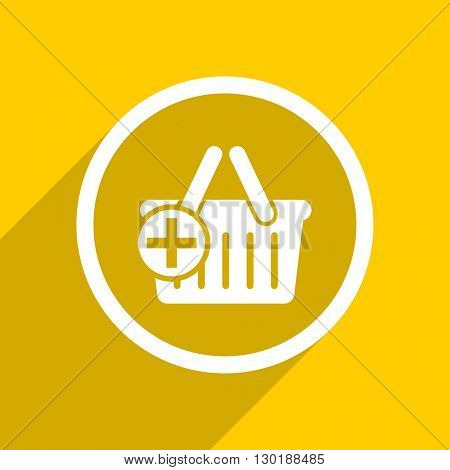 yellow flat design cart web modern icon for mobile app and internet