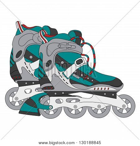 Vector color roller skates. Hand-drawn vector illustration. Can be used for graphic design textile design or web design.