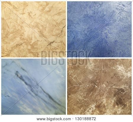 Collection of decorative plaster with marble effect, art brush texture