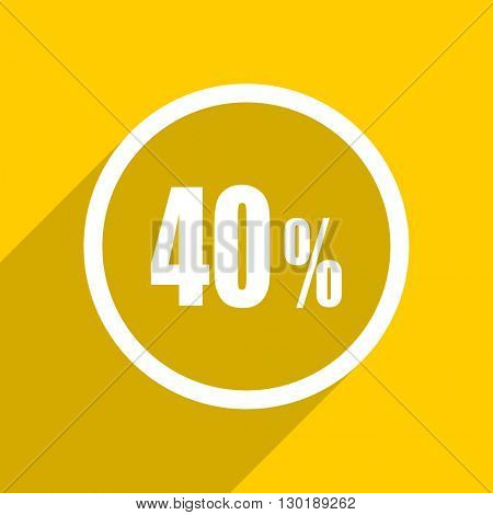 yellow flat design 40 percent web modern icon for mobile app and internet