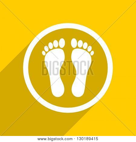 yellow flat design foot web modern icon for mobile app and internet