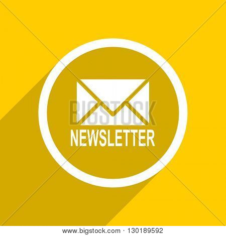yellow flat design newsletter web modern icon for mobile app and internet