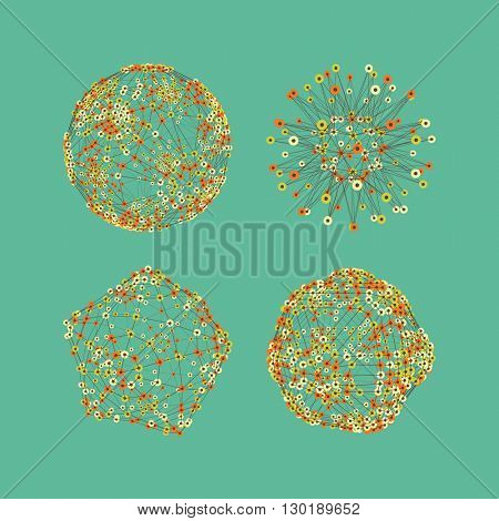 Connection Structure. Abstract Globe Grid. Sphere Illustration. Technology Concept. Vector Illustration.
