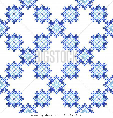 Seamless texture with blue abstract patterns for cloth.Embroidery.Cross stitch