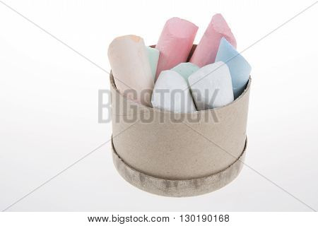 Grungy Broken Pieces Of Thick Colored Chalk Isolated