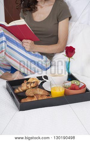 Breakfast Tray Woman Reading Vertical