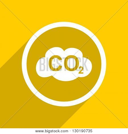 yellow flat design carbon dioxide web modern icon for mobile app and internet