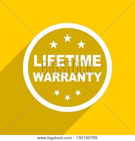 yellow flat design lifetime warranty web modern icon for mobile app and internet