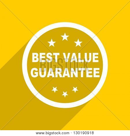 yellow flat design best value guarantee web modern icon for mobile app and internet