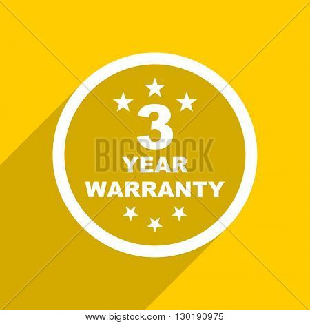 yellow flat design warranty guarantee 3 year web modern icon for mobile app and internet