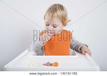 Orange Bib Eating