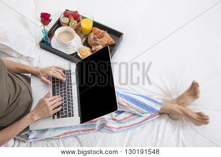 Woman Bed Laptop Breakfast