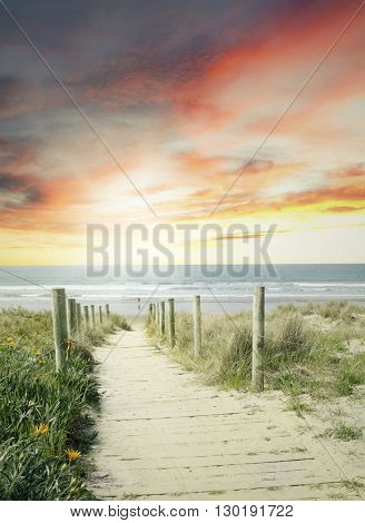 Walkway leading to beach scene