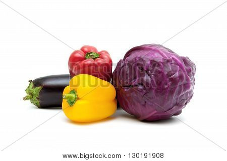 peppers eggplant and red cabbage isolated on white background. horizontal photo.