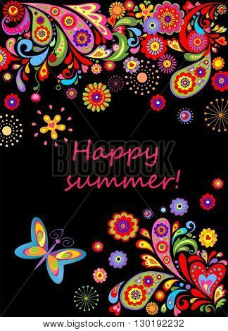 Summery banner with abstract flowers colorful pattern