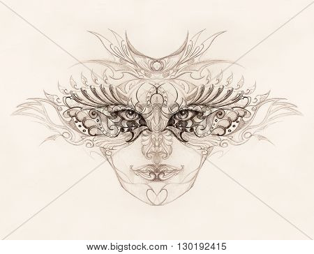 mystic woman face with floral ornament. Drawing on paper, Eye contact