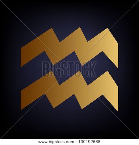 Aquarius sign. Golden style icon on dark blue background.