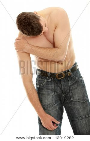 Back pain concept - man isolated on white