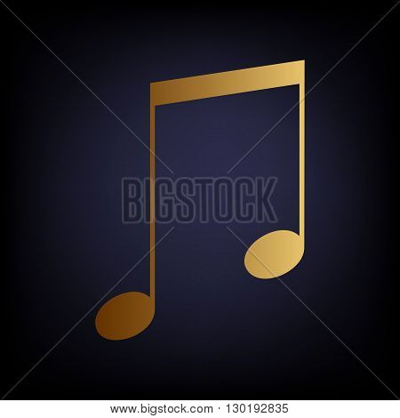 Music sign. Golden style icon on dark blue background.
